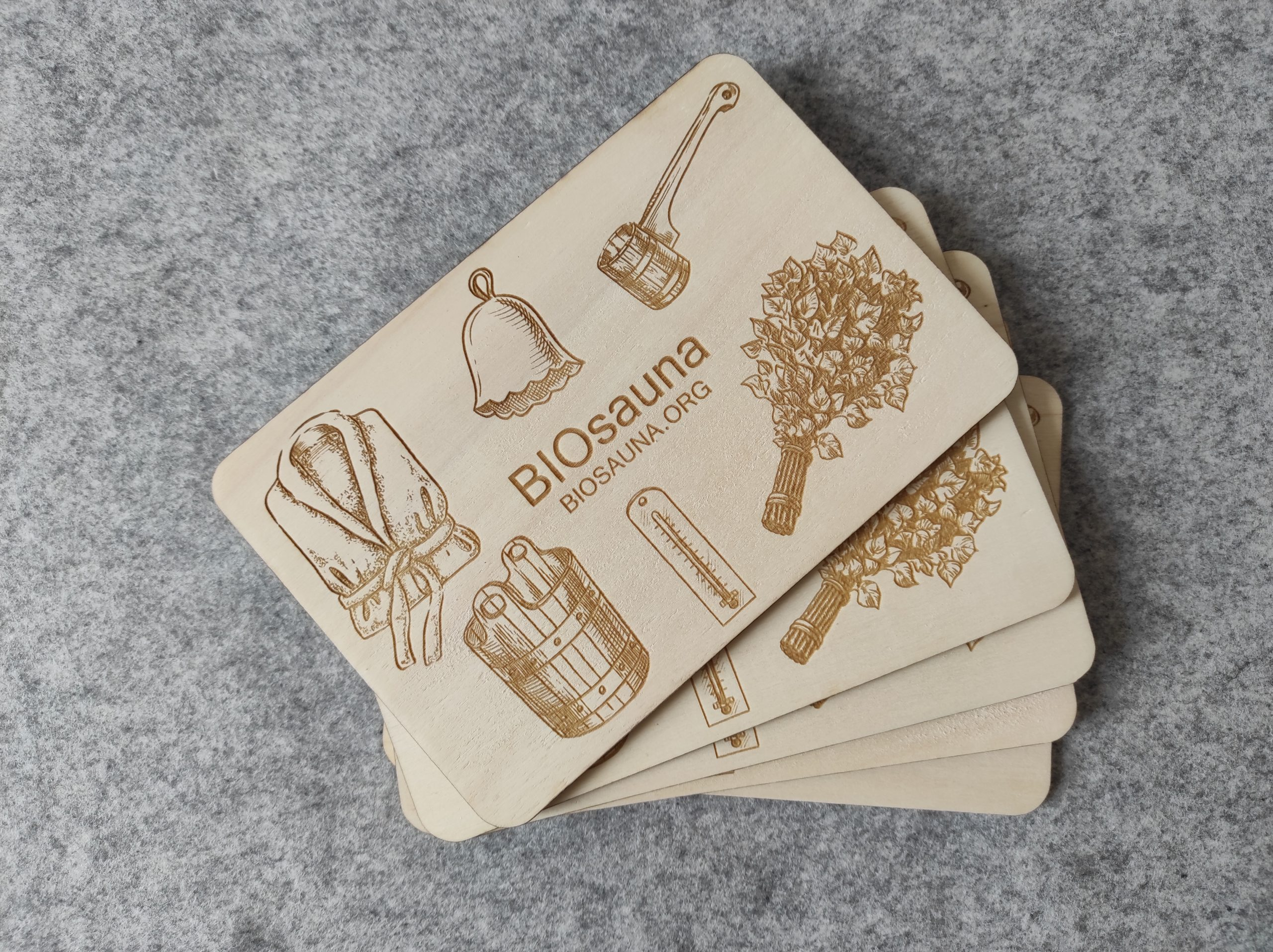 Wooden plates with business credentials